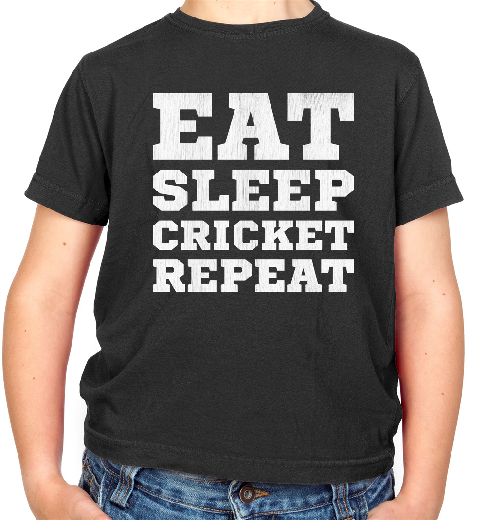Eat Sleep Cricket Repeat T Shirt Sport Funny Mens Children/'s Kids Tee