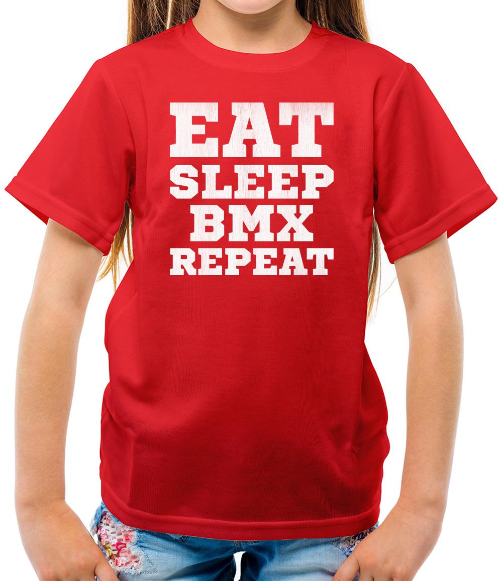 miniature 6 - Eat Sleep BMX Repeat - Kids T-Shirt - Motocross - Cycling - Cyclist - Biking